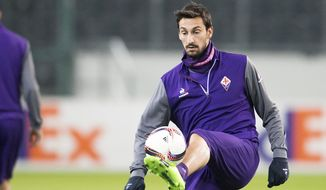 FILE - In this Feb. 15, 2017 file photo,  Davide Astori of AC Fiorentina attends a practice session in Moenchengladbach, Germany prior to a Europa League match. Fiorentina captain Davide Astori has died, the club has announced. He was 31. Astori was found in the early hours of Sunday morning March 4, 2018 in his hotel room in Udine, where the team was staying ahead of an Italian league match. (Marius Becker/dpa via AP)