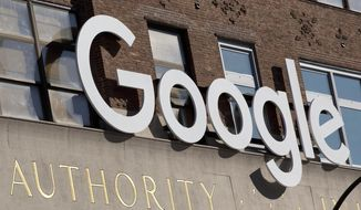 This March 2, 2016, file photo shows the Google office building on Ninth Avenue in New York's Chelsea neighborhood. (AP Photo/Mark Lennihan, File)