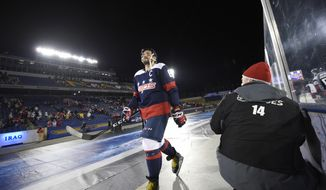 Washington Capitals left wing Alex Ovechkin (8), of Russia, walks to the locker room after an NHL hockey game against the Toronto Maple Leafs, Saturday, March 3, 2018, in Annapolis, Md. The Capitals won 5-2. (AP Photo/Nick Wass)