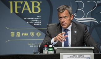 Martin Glenn, Chief Executive Football Association, speaks during the press conference of the 132nd IFAB Annual General Meeting at the Home of FIFA in Zurich, Switzerland, Saturday, March 3, 2018. (Ennio Leanza/Keystone via AP)