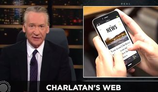 "HBO ""Real Time"" host Bill Maher told viewers on March 2, 2018, that President Trump's supporters often have legitimate claims about ""fake"" news. (Image: YouTube, ""Real Time"" screenshot) ** FILE **"