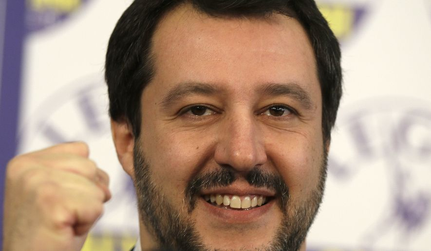 Matteo Salvini celebrated preliminary election results, in Milan, Italy, on Monday after his Northern League eclipsed Silvio Berlusconi's center-right Forza Italia in the vote. (Associated Press)