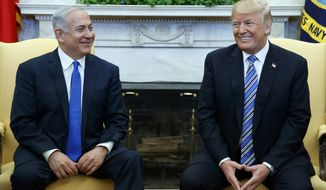 President Donald Trump meets with Israeli Prime Minister Benjamin Netanyahu in the Oval Office of the White House, Monday, March 5, 2018, in Washington. (AP Photo/Evan Vucci) ** FILE **