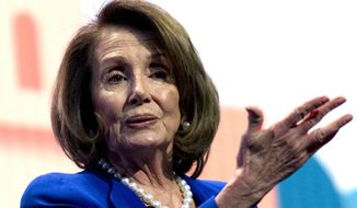 House Minority Leader Nancy Pelosi, D-Calif., speaks at the 2018 American Israel Public Affairs Committee (AIPAC) policy conference at Washington Convention Center, Monday, March 5, 2018, in Washington. (AP Photo/Jose Luis Magana) ** FILE **