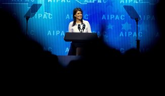 U.S. Ambassador to the United Nations Nikki Haley speaks at the 2018 American Israel Public Affairs Committee (AIPAC) policy conference, at Washington Convention Center, Monday, March 5, 2018, in Washington. (AP Photo/Jose Luis Magana)