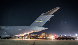 Crews offload equipment from a C-17 Globemaster III assigned to the 816th Expeditionary Airlift Squadron, at Bagram Airfield, Jan. 25, 2018. The C-17 transported troops and equipment to forward operating locations throughout the U.S. Central Command area of responsibility in support of Operation Freedom's Sentinel and NATO Resolute Support missions. The C-17 is not only proficient in transporting troops and cargo, but can perform tactical airlift and airdrop missions and transport ambulatory patients during aeromedical evacuations. (U.S. Air National Guard photo by Staff Sgt. Patrick Evenson)