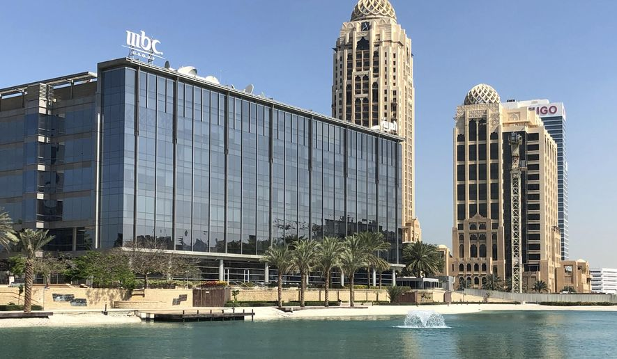 A general view of the MBC building at Media City in Dubai, United Arab Emirates, Monday, March 5, 2018. The Dubai-based MBC Group stopped broadcasting its popular Arabic-dubbed Turkish soap operas on March 1, a decision coming just after its chairman Waleed al-Ibrahim was released from being detained in a mass arrest by Saudi authorities. (AP Photo/Kamran Jebreili)