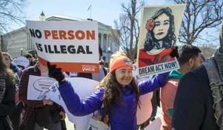 Deferred Action for Childhood Arrivals (DACA) recipients and other young immigrants march with supporters as they arrive at the Capitol in Washington, Monday, March 5, 2018. The program that temporarily shields hundreds of thousands of young people from deportation was scheduled to end Monday by order of President Donald Trump but court orders have forced the Trump administration to keep issuing renewals. (AP Photo/J. Scott Applewhite) ** FILE **