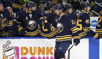Buffalo Sabres Sam Reinhart (23) celebrates his goal during the first period of an NHL hockey game against the Toronto Maple Leafs, Monday, March 5, 2018, in Buffalo, N.Y. (AP Photo/Jeffrey T. Barnes)