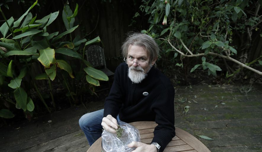 "FILE - In this Dec. 22, 2017, file photo, Dale Gieringer, of NORML (National Organization for the Reform of Marijuana Laws), poses at his house in Berkeley, Calif. Some states that have legalized marijuana are considering providing so-called sanctuary status for licensed marijuana businesses, hoping to protect them from a shift in federal enforcement policy. Gieringer said California has a rotten history with the feds on marijuana enforcement. ""I don't think the feds care too much about marijuana in Alaska, to tell you the truth,"" he said. ""But marijuana has been a big industry in this state, so we're sort of on the front lines."" (AP Photo/Jeff Chiu, File)"