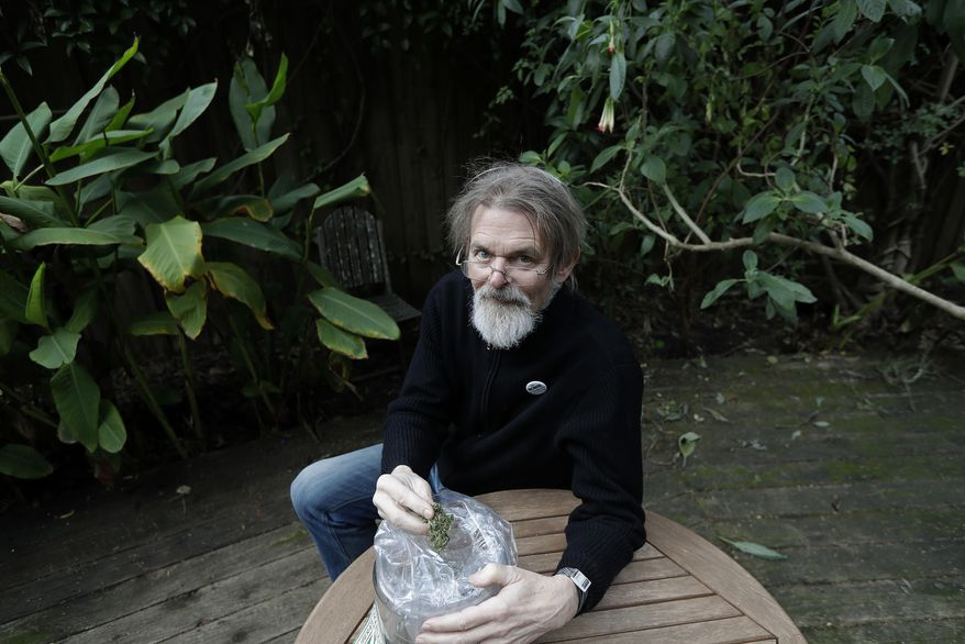 """FILE - In this Dec. 22, 2017, file photo, Dale Gieringer, of NORML (National Organization for the Reform of Marijuana Laws), poses at his house in Berkeley, Calif. Some states that have legalized marijuana are considering providing so-called sanctuary status for licensed marijuana businesses, hoping to protect them from a shift in federal enforcement policy. Gieringer said California has a rotten history with the feds on marijuana enforcement. """"I don't think the feds care too much about marijuana in Alaska, to tell you the truth,"""" he said. """"But marijuana has been a big industry in this state, so we're sort of on the front lines."""" (AP Photo/Jeff Chiu, File)"""
