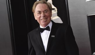 "FILe - In this Jan. 28, 2018 file photo, Andrew Lloyd Webber arrives at the 60th annual Grammy Awards in New York.  Webber's memoir, ""Unmasked,"" is being published this month, as well as a massive, four-CD collection of his songs, performed by the likes of Barbra Streisand, Lana Del Rey and Madonna. (Photo by Evan Agostini/Invision/AP)"