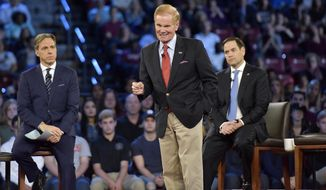 In this Feb. 21, 2018, file photo, Sen. Bill Nelson speaks during a CNN town hall meeting in Sunrise, Fla. The mass shooting at Marjory Stoneman Douglas High School has put guns at the forefront, for now, in the U.S. Senate campaign in Florida. Republican Gov. Rick Scott, is expected to mount a campaign to oust incumbent Democrat U.S. Bill Nelson from his Senate seat. CNN host Jake Tapper, left, and U.S. Senator Marco Rubio (R-FL) are seen in the background. (Michael Laughlin/South Florida Sun-Sentinel via AP, Pool)