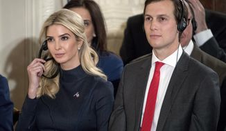 In this photo taken Friday, March 17, 2017, Ivanka Trump, the daughter of President Donald Trump, and her husband Jared Kushner, senior adviser to President Donald Trump, attend a joint news conference with the president and German Chancellor Angela Merkel in the East Room of the White House in Washington. Jared Kushner is increasingly a headache for Trump on multiple fronts _ security clearance problem, business entanglements _ but also one of the last remaining members of the president's inner circle. (AP Photo/Andrew Harnik)