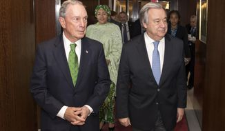 Former New York Mayor Michael Bloomberg, left, meets with Antonio Guterres, Secretary General of the United Nations, Monday, March 5, 2018, at U.N. headquarters. Bloomberg has been named Special Envoy for Climate Action. (Eskinder Debebe/U.N. via AP)