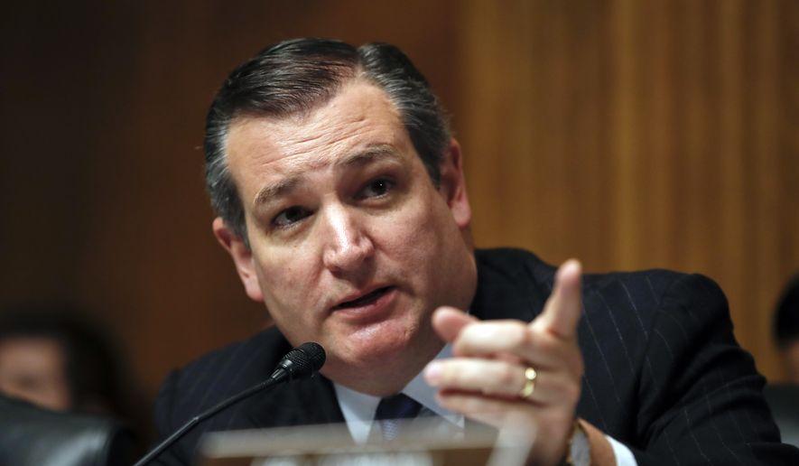 Senate Judiciary Committee member Sen. Ted Cruz, R-Texas, speaks during a Senate Judiciary Committee hearing on nominations on Capitol Hill in Washington, Wednesday, Nov. 15, 2017. (AP Photo/Carolyn Kaster) ** FILE **