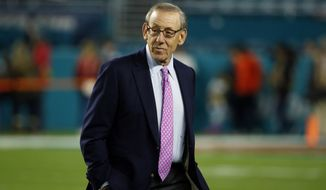Miami Dolphins owner Stephen M. Ross watches his team before an NFL football game against the New England Patriots, Monday, Dec. 11, 2017, in Miami Gardens, Fla. (AP Photo/Wilfredo Lee)