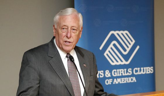 Rep. Steny Hoyer (D-MD) addresses Boys & Girls Club executives, board members, youth, and supporters from 43 states plus D.C. and Puerto Rico at the National Day of Advocacy Congressional Reception in the Hart Senate Building on Tuesday, March 6, 2018, in Washington, D.C. (Paul Morigi/AP Images for Boys & Girls Clubs of America) ** FILE **