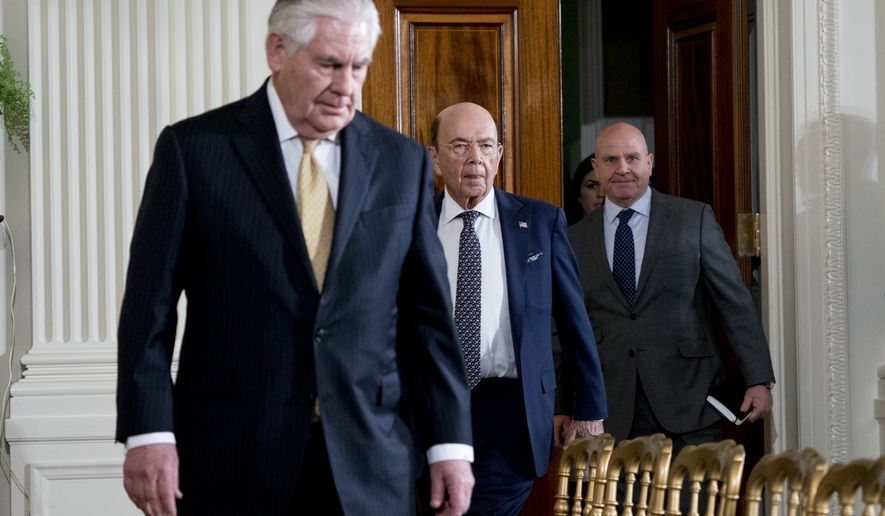 From left, Secretary of State Rex Tillerson, Commerce Secretary Wilbur Ross, and National Security Adviser H.R. McMaster arrive for a joint news conference between President Donald Trump and Swedish Prime Minister Stefan Lofven in the East Room of the White House, Tuesday, March 6, 2018, in Washington. (AP Photo/Andrew Harnik)