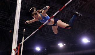 Russia's Anzhelika Sidorova makes an attempt in the women's pole vault final at the World Athletics Indoor Championships in Birmingham, Britain, Saturday, March 3, 2018. (AP Photo/Matt Dunham)