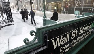 FILE- In this March 14, 2017, file photo, morning commuters walk on Broadway in New York's Financial District. The U.S. stock market opens at 9:30 a.m. EST on Tuesday, March 6, 2018. (AP Photo/Richard Drew, File)
