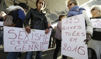 "FILE - In this Oct. 29, 2017 file photo, demonstrators hold placards reading ""Sexism, that is not my gender"" and ""125 women killed in 2016"", right, during a demonstration against sexual abuse and harassment across the country under the #MeToo movement, in Marseille, southern France. Perhaps no country has had more complex reaction to #MeToo than France - long identified as a haven for romance. The government is preparing new legislation on sexual violence and harassment, and some lawmakers want to impose fines for sexist catcalls. Yet despite sexual misconduct allegations against several prominent men, they haven't lost their jobs or reputations. Meanwhile, French feminists ranks have experienced divisions.  (AP Photo/Claude Paris, File)"