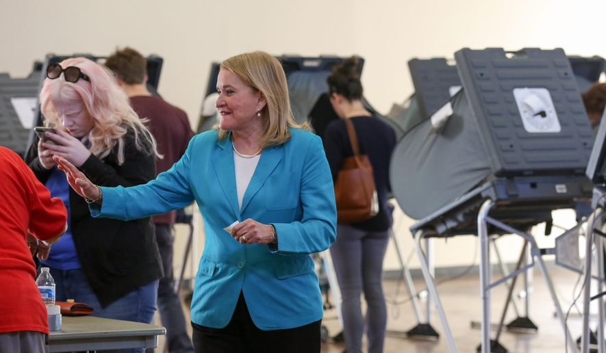 Senator Sylvia Garcia exits the polling stationat the Montie Beach Community Center after voting Tuesday, March 6, 2018, in Houston. Texas Democrats turned out in force ahead of the first-in-the-nation primary Tuesday in what could be an early hint of a midterm election backlash against President Donald Trump, but their party remains a longshot to make much of a dent in Republican political dominance of the state.   (Godofredo A. Vasquez/Houston Chronicle via AP)