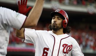 Washington Nationals' Anthony Rendon (6) celebrates his solo home run during the first inning of Game 2 of baseball's National League Division Series against the Chicago Cubs, at Nationals Park, Saturday, Oct. 7, 2017, in Washington. (AP Photo/Alex Brandon) ** FILE **