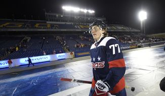 Washington Capitals right wing T.J. Oshie (77) walks to the locker room after an NHL hockey game against the Toronto Maple Leafs, Saturday, March 3, 2018, in Annapolis, Md. The Capitals won 5-2. (AP Photo/Nick Wass) **FILE**