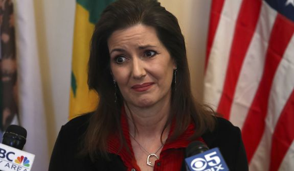 """Oakland Mayor Libby Schaaf was essentially acting as a """"gang lookout"""" tipping off lawbreakers when police came through their neighborhood, according to U.S. Immigration and Customs Enforcement. (Associated Press/File)"""