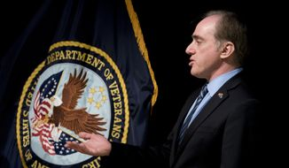 """Veterans Affairs Secretary David Shulkin speaks at a news conference at the Washington Veterans Affairs Medical Center in Washington, Wednesday, March 7, 2018, in response to a VA inspector general audit being released today. A new government investigation finds that Shulkin took no action to fix longstanding problems of dirty syringes and equipment shortages that put patients at risk at a major veterans hospital when he was undersecretary of health under the Obama administration, saying he was never told of problems reported to the VA offices under his watch. The harsh report by the VA inspector general cites """"failed leadership"""" and a """"climate of complacency"""" for patient safety issues dating back to 2013 and cautions of continuing problems without strong oversight. (AP Photo/Andrew Harnik)"""