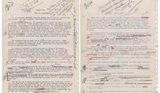 "This image released by Profiles in History shows two pages from the original Alcoholics Anonymous manuscript. Alcoholics Anonymous is demanding the return of its 1939 original manuscript describing the ""Twelve Step"" program of recovery from alcoholism. Alcoholics Anonymous World Services Inc. in New York state court last Thursday sued an Alabama man, Ken Roberts, who owns the manuscript, a New York art gallery and a California auction house. The manuscript is to be sold June 8 at auction. The lawsuit said the manuscript was gifted to a man who left instructions for it to be given to Alcoholics Anonymous upon his death. But it never was. (Profiles in History via AP)"