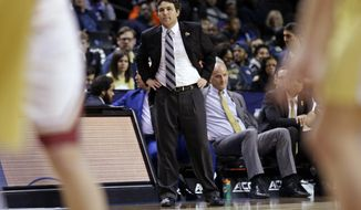 Georgia Tech head coach Josh Pastner watches as his team plays in the second half of an NCAA college basketball game against Boston College in the first round of the Atlantic Coast Conference tournament Tuesday, March 6, 2018, in New York. Boston College won 87-77. (AP Photo/Frank Franklin II)