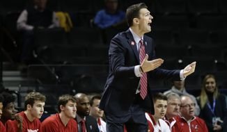 Louisville head coach David Padgett calls out to his team during the first half of an NCAA college basketball game against Florida State in the second round of the Atlantic Coast Conference tournament Wednesday, March 7, 2018, in New York. (AP Photo/Frank Franklin II) ** FILE **