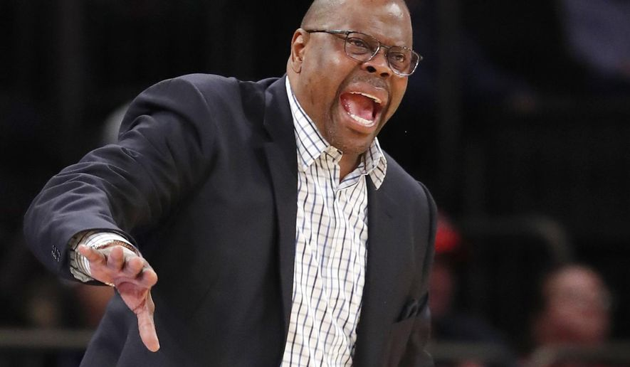 Georgetown head coach Patrick Ewing yells at his players during the second half of an NCAA college basketball game against St. John's in the first round of the Big East conference tournament, Wednesday, March 7, 2018, in New York. St. Johns defeated Georgetown 88-77. (AP Photo/Kathy Willens) ** FILE **
