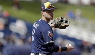 FILE - In this Feb. 28, 2018, file photo, Milwaukee Brewers first baseman Ryan Braun throws during the second inning of a spring training baseball game against the San Francisco Giants in Maryvale, Ariz. With three Cactus League starts at first base under his belt, Braun's transition to first baseman remains a work in progress. (AP Photo/Carlos Osorio, File)