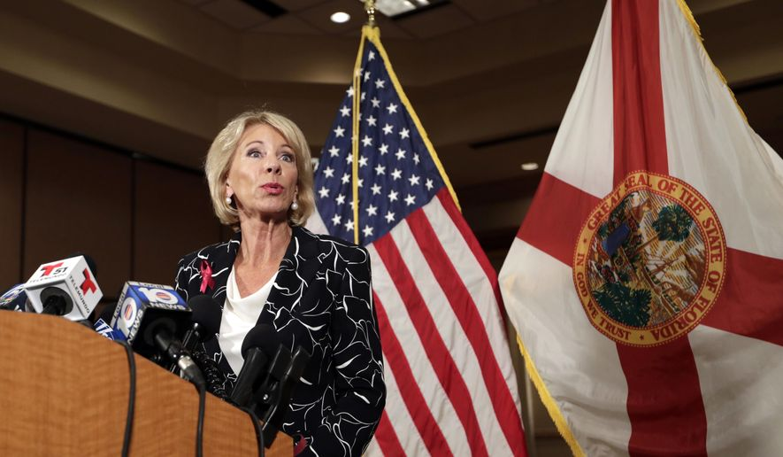 Secretary of Education Betsy DeVos speaks at a news conference following a visit to Marjory Stoneman Douglas High School in the aftermath of the Feb. 14 mass shooting at the school, Wednesday, March 7, 2018, in Coral Springs, Fla. (AP Photo/Lynne Sladky) **FILE**