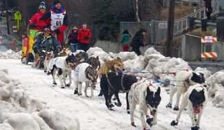 FILE - In this March 7, 2015, file photo, musher Wade Marrs of Willow, Alaska, leads his team during the ceremonial start of the Iditarod Trail Sled Dog Race in Anchorage, Alaska. Marrs, in a statement released by his kennel Tuesday, March 6, 2018, claims the head of the Iditarod's drug testing program, Dr. Morrie Craig, threatened to reveal his dogs tested positive for a banned substance. Marrs felt it was out of retaliation for the musher being vocal about how race officials have handled dog doping. (AP Photo/Rachel D'Oro, File)