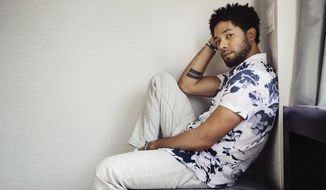 "Actor-singer Jussie Smollett, from the Fox series, ""Empire,"" poses for a portrait on Tuesday, March 6, 2018, in New York. (Photo by Victoria Will/Invision/AP)"