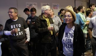 Supporters watch results on a screen during a Democratic watch party following the Texas primary election, Tuesday, March 6, 2018, in Austin, Texas. (AP Photo/Eric Gay)