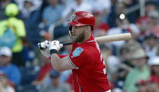 Washington Nationals' Bryce Harper (34) drives in a run with a base hit during a spring training baseball game Detroit Tigers, Sunday, March 4, 2018, in West Palm Beach, Fla. A throwing error by Tigers right fielder Victor Reyes allowed a run to score and Harper to take second base. (AP Photo/John Bazemore)