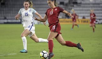 United States forward Alex Morgan (13) controls the ball in front of England defender Abby McManus (15) during the first half of a SheBelieves Cup women's soccer match Wednesday, March 7, 2018, in Orlando, Fla. (AP Photo/Phelan M. Ebenhack)