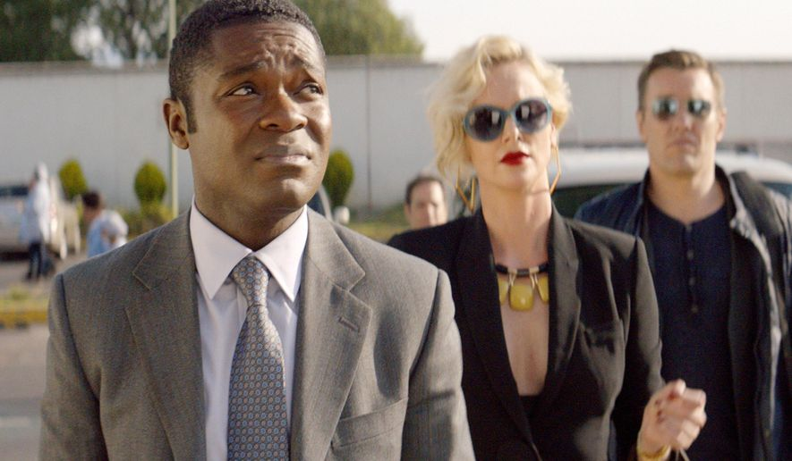 """This image released by Amazon Studios shows David Oyelowo, from left, Charlize Theron and Joel Edgerton in a scene from """"Gringo."""" (Amazon Studios via AP)"""