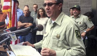 In a Sept. 9, 2017 photo, Tony Tooke, chief of the U.S. Forest Service, speaks at a news conference, in Troutdale, Ore. Tooke has stepped down after an investigation was launched into sexual misconduct allegations against him. A Forest Service spokesman on Thursday, March 8, 2018, confirmed Tooke's sudden retirement just seven months after he took over an agency. (Allan Brettman/The Oregonian/Oregon Live via AP)