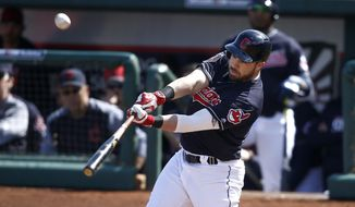 FILE - In this Feb. 27, 2018, file photo, Cleveland Indians' Jason Kipnis connects for a home run against the Oakland Athletics during the third inning of a spring training baseball game in Goodyear, Ariz. Kipnis homered in each of his first six Cactus League games, a sign of personal renewal and evidence to the Indians that the 30-year-old may be ready to produce more this season. (AP Photo/Ross D. Franklin, File)