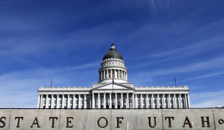 The Utah State Capitol is shown Thursday, March 8, 2018, in Salt Lake City. Utah lawmakers will finalize the $16.7 billion state budget and push through dozens of bills Thursday before they wrap up their annual session at midnight. (AP Photo/Rick Bowmer)