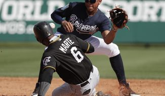 Pittsburgh Pirates' Starling Marte (6) steals second base ahead of the throw to Atlanta Braves shortstop Johan Camargo, right, during the sixth inning of a spring baseball exhibition game, Monday, March 5, 2018, in Kissimmee, Fla. (AP Photo/John Raoux)