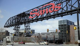 FILE - This Feb. 25, 2015, file photo shows Sands Casino Resort Bethlehem in Bethlehem, Pa. Las Vegas Sands Corp. is selling its Bethlehem casino to Wind Creek Hospitality, an affiliate of the Poarch Band of Creek Indians based in Alabama in a $1.3 billion deal announced Thursday, March 8, 2018. (AP Photo/Matt Rourke, File)