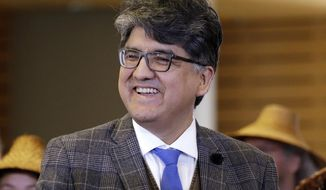 "FILE - In this Oct. 10, 2016 file photo, author and filmmaker Sherman Alexie appears at a celebration of Indigenous Peoples' Day at Seattle's City Hall. The American Library Association tells The Associated Press that Alexie has declined the Carnegie Medal he received last month. He was given the $5,000 award for nonfiction for his memoir ""You Don't Have To Say You Love Me."" He has since faced multiple allegations of sexual harassment and issued a statement acknowledging wrongdoing. (AP Photo/Elaine Thompson, File)"