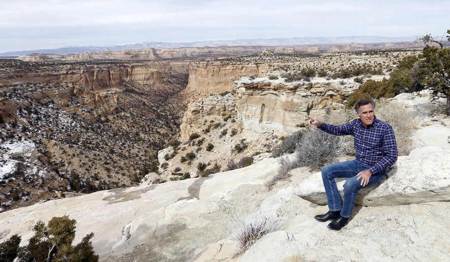 This Saturday, March 3, 2018 photo shows Mitt Romney at the Ghost Rock viewing area, near Emery, Utah. The former Republican presidential nominee continues his bid to become a U.S. Senator for Utah. (AP Photo/Rick Bowmer)
